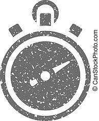 chronomètre, grunge, -, icône