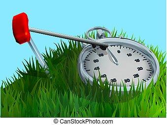 chronomètre, herbe