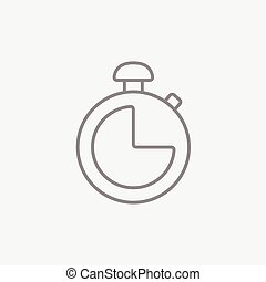 chronomètre, ligne, icon.
