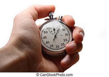 chronomètre, mâle, tenant main