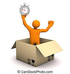 chronomètre, paquet, homoncule