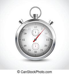 chronomètre, réaliste, métallique