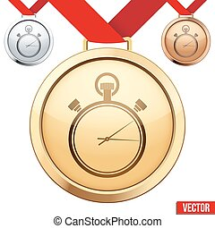chronomètre, symbole, médaille, intérieur, or