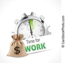 chronomètre, -, temps, travailler, -, métier