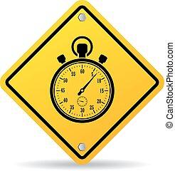 chronomètre, vecteur, signe