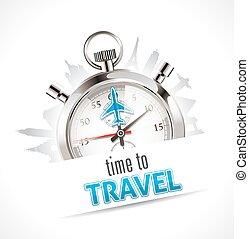 chronomètre, voyage, -, temps