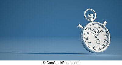Chronometer - 3D rendering of a retro silver stopwatch on a ...