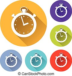 chronometer circle icons set