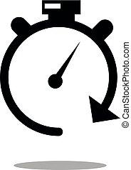 Chronometer vector icon on white background. Stopwatch vector icon