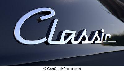 chroom, auto, embleem, classieke