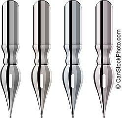 chroom, pen, nibs, inkt