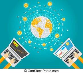 chryptocurrency, digitális, tech, fogalom, vektor, ábra