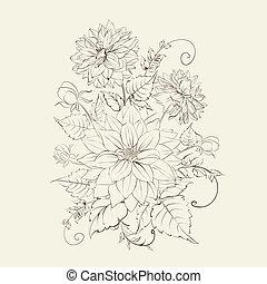 chrysant, vrijstaand, design.