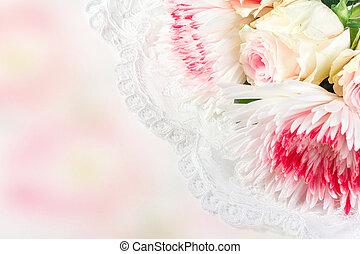 chrysantemums, レース, ばら, 背景, 結婚式