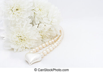 chrysanteum, heart and pearl - wedding background with...