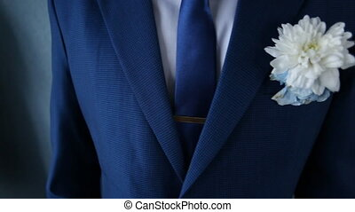 chrysanthèmes, boutonniere, ou, asters, palefrenier