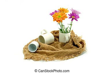 Chrysanthemum and coffee cup.