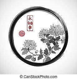 Chrysanthemum flowers in oriental style in black enso zen...