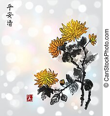 Chrysanthemum flowers on white glowing background. Traditional oriental ink painting sumi-e, u-sin, go-hua. Contains hieroglyphs - flower, freedom, clarity, beauty