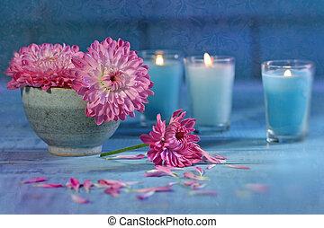 Chrysanthemum flowers with candles - Chrysanthemum flowers...