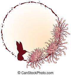chrysanthemum frame - chrysanthemum, grunge floral frame in...