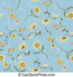 Chrysanthemum seamless floral pattern with berries