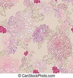 chrysanthemums - seamless ornament of tender chrysanthemums...