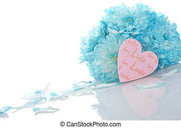 Chrysanthemums with pink hearts