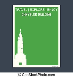 Chrysler Building Manhattan, New York monument landmark brochure Flat style and typography vector