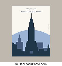 Chrysler Building Manhattan, New York Vintage Style Landmark Poster Template