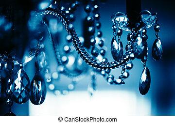 chrystal, araña de luces, primer plano, superficial, dof.,...