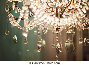 Chrystal chandelier close up. Glamour background with copy...