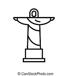 chrystus, linearny, pojęcie, statua, ikona, szkic, symbol., znak, wektor, jezus, kreska, ilustracja