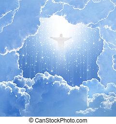 chrystus, w, niebo, wielkanoc