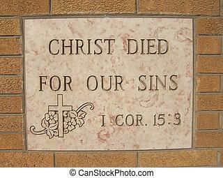 chrystus, zmarł, dla, nasz, grzeszenie