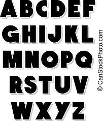 chrzcielnica, alfabet, wektor, type., śmiały