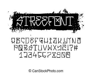 chrzcielnica, ulica, graffiti, alfabet