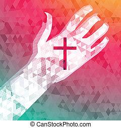 chrześcijanin, abstrakcyjny, krzyż, ręka, tło, lewa strona