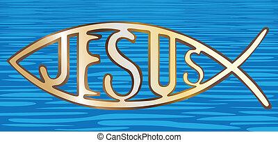 chrześcijanin, fish, -, ilustracja, woda, tło, symbol