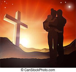 chrześcijanin, grupa, krzyż, rodzina