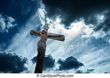chrześcijanin, krzyż na drugą, ciemny, burzowe niebo, tło