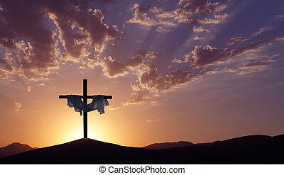 chrześcijanin, krzyż na drugą, piękny, zachód słońca, tło