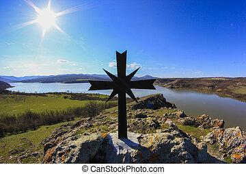 chrześcijanin, krzyż, na, niejaki, tło, od, błękitne niebo
