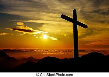chrześcijanin, krzyż, na, zachód słońca, tło
