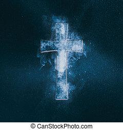 chrześcijanin, krzyż, symbol., abstrakcyjny, niebo nocy, tło.