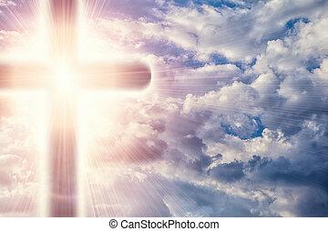 chrześcijanin, krzyż, w, niebiosa