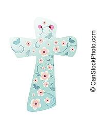 chrześcijanin, krzyż, z, kwiaty