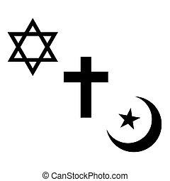 chrześcijanin, symbols., żydowski, format., muslim, wektor, religijny, signs.