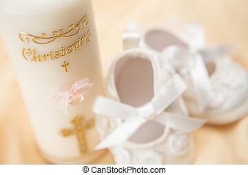 chrzest, świeca, i, łupy niemowlęcia