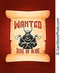 chtěl, hluboký, nebo, naživu, válečník, viking, vektor, plakát